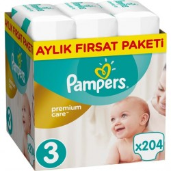 Prima Bebek Bezi Premium Care 3 Beden | Midi Aylık Fırsat Paketi 204 Adet