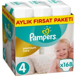 Prima Bebek Bezi Premium Care | 4 Beden Maxi Aylık Fırsat Paketi 168 Adet