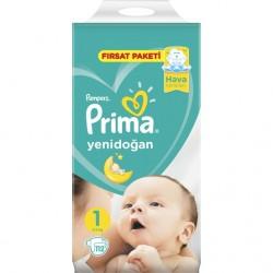 Prima Bebek Bezi 1 Beden | Yenidoğan Fırsat Paketi 112 Adet